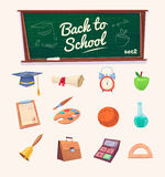 Back to school. Set of school supplies and icons. Welcome back to school. Set of icons. Vector illustration Royalty Free Stock Photography