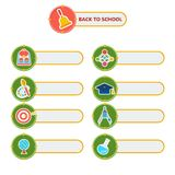 Back to school set of stickers. Back To School Stickers with school supplies icons. Cartoon flat vector illustration. Objects isolated on a white background Stock Photography