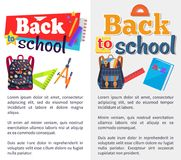 Back to School Set of Stickers on White and Grey. Back to school set of stickers with text on white and grey background. Vector illustration of colourful stock illustration