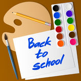 Back to school. Set of tools for drawing. Watercolor paint, brush, pencil, palette, paper. Vector stock illustration