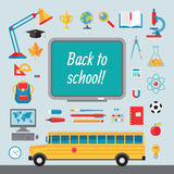 Back to school - set of vector icons in flat style for creative design projects. Collection of vector illustrations on the theme back to school Royalty Free Stock Photos
