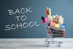 Back to school shopping cart royalty free stock photo