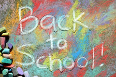 Back to School Sidewalk Chalk Stock Photo