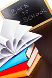 Back to school sign on a blackboard Royalty Free Stock Photos
