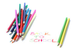 Back to school sign  with crayons Royalty Free Stock Image