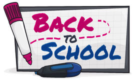 Back to School Sign Drawn with Markers in the Blackboard, Vector Illustration Royalty Free Stock Photography