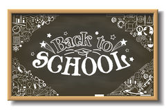 Back to School sign on horizontal chalkboard with doodle stationery and other school subjects. Back to School horizontal chalkboard with doodle stationery and Stock Images
