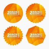 Back to school sign icon. Back 2 school symbol. Stock Photos