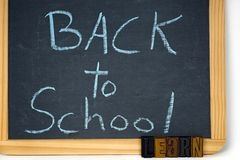 Back to school sign with letterpress type Royalty Free Stock Photography