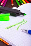 Back to school sign in notebook Royalty Free Stock Photography