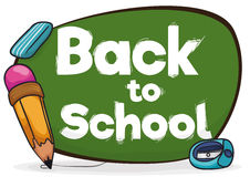 Back to School Sign with Pencil, Eraser and Sharpener, Vector Illustration Royalty Free Stock Images