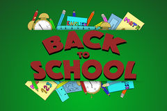 Back to school sign with texture and hand drawn school supplies. Stock Images