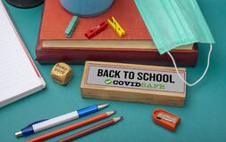 Free Back To School Sign With Covid Safe Text - Education Concept Royalty Free Stock Images - 186978679
