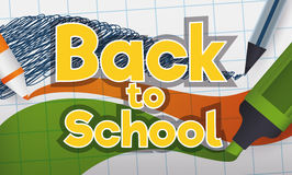 Back to School Sign Written with Markers and Pen in Notebook, Vector Illustration Stock Images