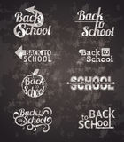 Back to school signs. Set of back to school vector typography calligraphic designs Royalty Free Stock Image