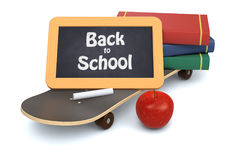 Back to school. Skateboard, books and a small blackboard with text: back to school, white background 3d render Royalty Free Stock Photos
