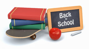 Back to school. Skateboard, books and a small blackboard with text: back to school, white background 3d render Stock Images