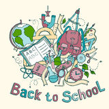 Back to school - Sketch colored illustration of education objects Stock Photo