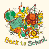 Back to school - Sketch colored illustration of education objects Stock Images