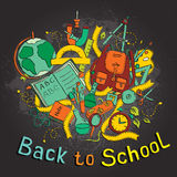 Back to school - Sketch colored illustration of education objects Royalty Free Stock Image