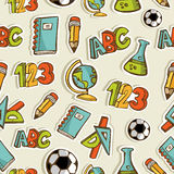 Back to School sketch icon set pattern Royalty Free Stock Photos