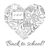 Back to School vector sketch heart poster Stock Photography