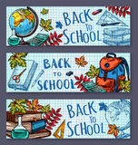 Back to School sketch stationery vector banners Royalty Free Stock Photography
