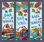 Back to School sketch vector banners Royalty Free Stock Image