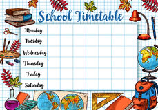 Back to School sketch vector timetable schedule Royalty Free Stock Photography