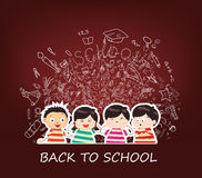 Back to school sketches. Back to school with kids and icon background Royalty Free Stock Photos