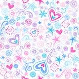 Back to School Sketchy Doodle Pattern. Seamless Pattern Hearts and Stars Back to School Sketchy Notebook Doodle Design- Hand-Drawn Vector Illustration Background stock illustration