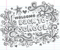 Back to School Sketchy Doodles Vector Design Stock Photos