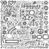 Back to School Sketchy Notebook Doodles Vector Ill. Back to School Sketchy Notebook Doodles with Flowers, Shapes, Hearts, Stars, Arrows and More Stock Images