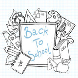 Back to school sketchy notebook with lettering royalty free illustration