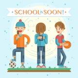 Back to school soon leaflet stock illustration