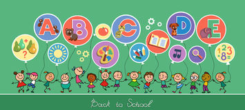 Back to School. Soon the school. Back to School. Vector sketches with happy children. Prospective students holding balloons in the form of icons of primary vector illustration