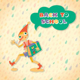 Back to school speech bubble. Hero of fairy story. Stock Images