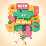 Back to school speech bubble. Hero of fairy story. Stock Photo