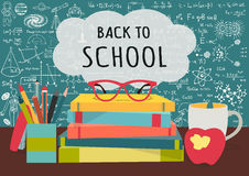 BACK TO SCHOOL on speech bubblesabove science books, pens box,apple and mug with science doodles on chalkboard background for bann Royalty Free Stock Photo
