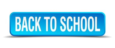 Back to school button. Back to school square 3d realistic isolated web button. back to school Royalty Free Stock Photos
