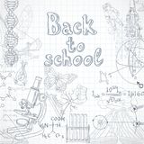 Back to school  squared paper sheet with doodles Stock Photography