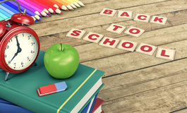 Back to school. Stack of books with a vintage alarm clock on wooden background, concept of back to school, empty space at the right of the image 3d render Stock Images