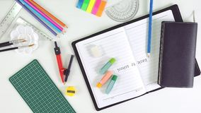 Back To School Stationery. Stationery Equipment on white back ground Stock Photo
