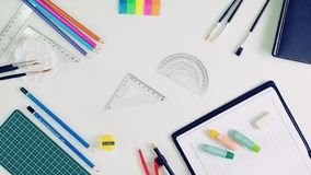 Back To School Stationery. Stationery Equipment on white back ground Royalty Free Stock Photography