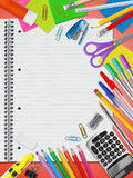 School stationery supplies. Lined notebook and school supplies Royalty Free Stock Images