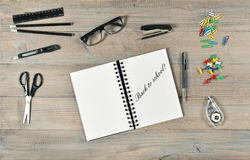 Back to school! Stationery supplies. Open book and writting tool Royalty Free Stock Photos
