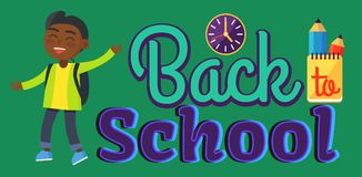 Back to School Sticker with Inscription and Boy Royalty Free Stock Photo