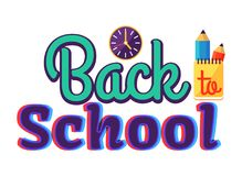 Back to School Cartoon Style Sticker with Text Royalty Free Stock Photo