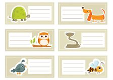 Back to school stickers with  animals Royalty Free Stock Photography