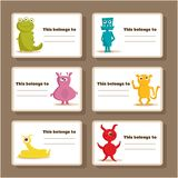 Back to school stickers with cute  monsters. Illustration Stock Photo
